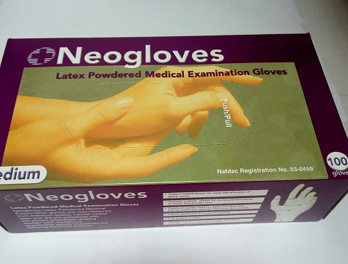 NEOGLOVES LATEX MEDICAL GLOVES MEDIUM SIZE X100 PC