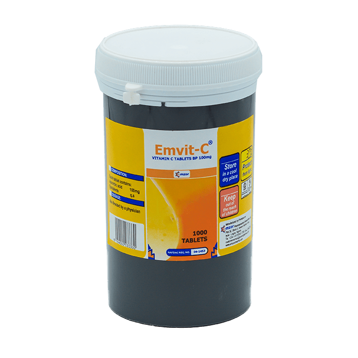 EMVIT-C WHITE VITAMIN C 100MG TABLETS X1000 TABS
