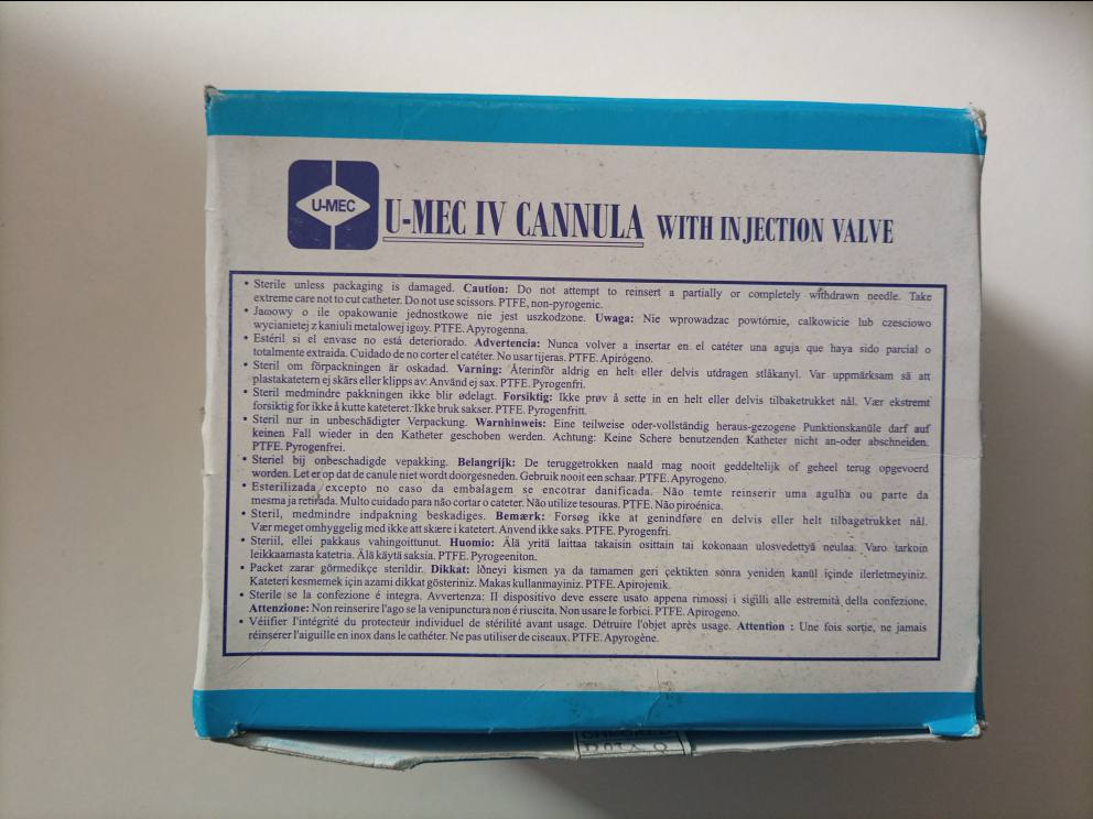 U-MEC IV CANNULA 24G YELLOW X 50