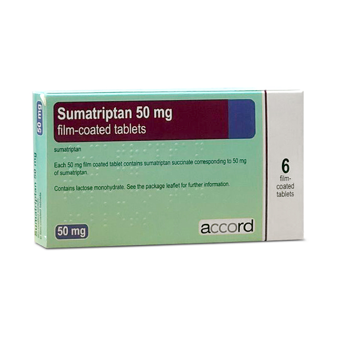ACCORD SUMATRIPTAN 50MG X 6 TABLETS